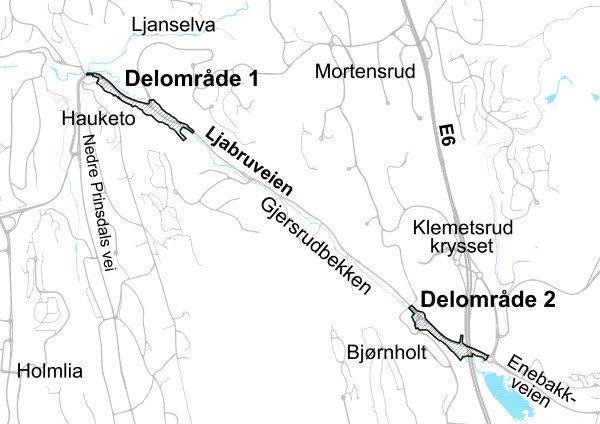 Kart over de aktuelle områdene