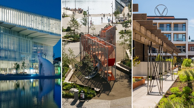 Finalistene i Oslo bys arkitekturpris, Deichman Bjørvika, Stasjonsalmenningen sør og Vinslottet.