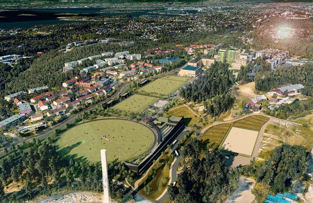 Idrettsanlegg, skole og sykehjem på Mortensrud