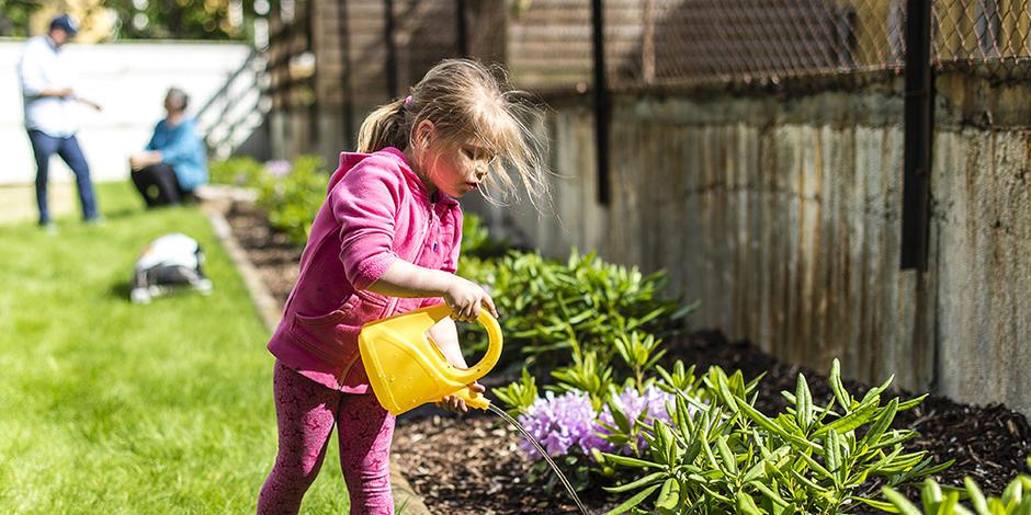 Liten jente vanner blomster på vårdugnad i bygård på Sagene.