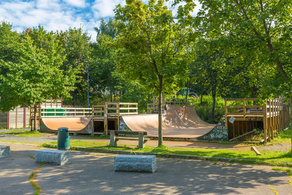 Skaterampene i Torshovdalen skatepark.